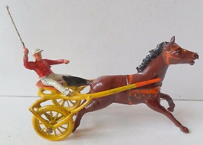 Taylor & Barrett Rare Painted Lead 2 Wheel Pony Trotting/racing Cart+Jockey