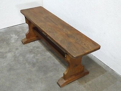 Attractive Vintage Carved Pine Plank Top School/ Church Bench   (249)