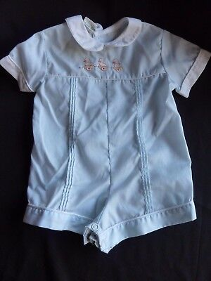 Vtg Baby Boy TODDLE TYKE Infant Romper Blue Outfit Embroidered 3-6 Months