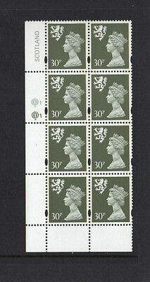 SCOTLAND 1993-98 - BLOCK OF EIGHT 30p OLIVE-GREY - SG No S86 - MINT NEVER HINGED