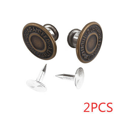 2 x 17mm Replacement Hammer on Jeans Buttons Denim Brass Studs Jacket Trousers