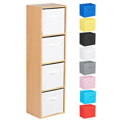 Hartleys 4 Tier Beech Bookcase Wooden Display Shelving Unit & Fabric Storage Box