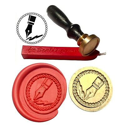 Wax Stamp,FOUNTAIN PEN NIB Writing Coin Seal and Red Wax Stick XWSC225-KIT