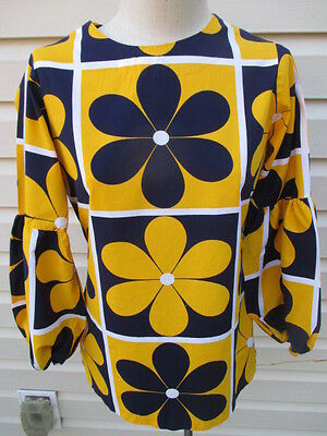 1960's Vintage Women's Flower Power OLD Dime Store Stock Shirt Top Size 12 VGC