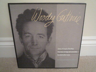 """Rare Woody Guthrie """"library Of Congress Recordings"""" 3Lp Box Set Exc/nm"""