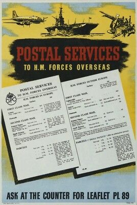 1950's Original GPO Poster P.R.D.715 - POSTAL SERVICES TO H.M. FORCES OVERSEAS