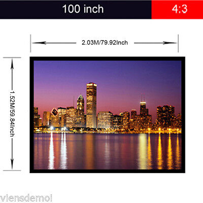 100'' 4:3 PVC Projection Screen Home Cinema 1080P HD 3D for Projector PS4 XBOX
