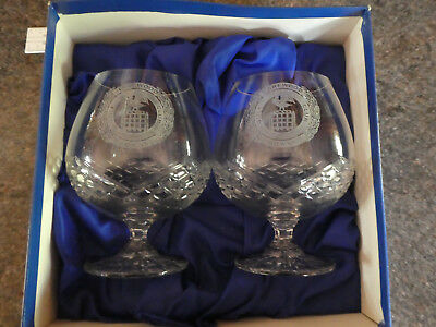 "2x cut glass Brandy Glasses  engraved ""Harewood Downs Golf Club""in box"