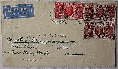 Great Britain 1935 Rugby Airmail Cover To Germany Via Sweden & Finland
