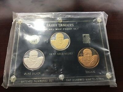 1997 Nfl Mvp Barry Sanders Three Coin 24Kt Gold Select Silver Bronze
