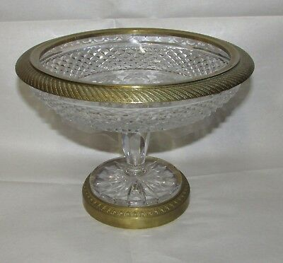 Antique Cut Glass Compote Mounted  with French Bronze