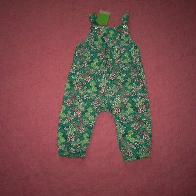 """Girls """"John Lewis"""" Blue Multi Floral Needlecord Dungarees Age 6-9 months BNWT"""