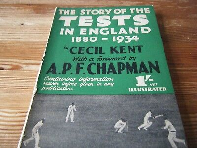 1934 Cricket Book - The Story Of The Tests  In England - 1880 - 1934  Cecil Kent