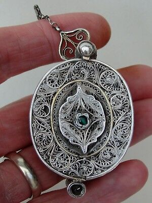 ANTIQUE INDIAN HINDU SILVER GILT EMERALDS BAZUBAND AMULET JEWELLERY 19th CENTURY