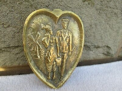 Unusual Antique Brass Heart Shaped Risque Dish Soldier & Sweetheart Trench Art ?