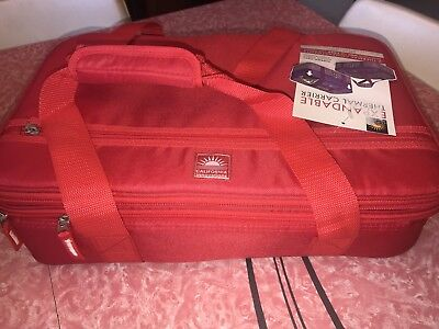 CALIFORNIA INNOVATIONS Expandable Thermal Carrier Red Casserole Cooler Insulated