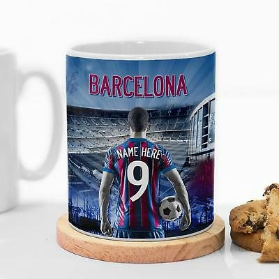 Barcelona Football Mug Cup  Personalised Work Coaster Birthday Father Gift AF10