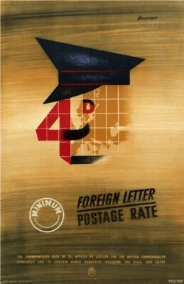 1950's GPO Poster P.R.D.707 - FOREIGN LETTER POSTAGE RATE - Ken Bromfield