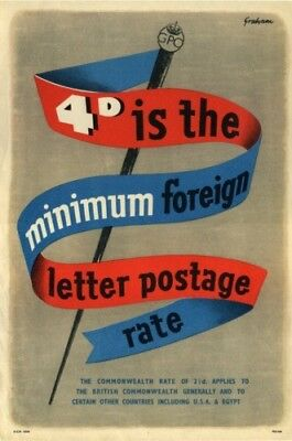 1950's GPO Poster P.R.D.660 - MINIMUMFOREIGN LETTER POSTAGE RATE - Sidney Graham