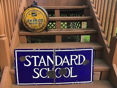 Original Early 1920s Porcelain Standard School House Sign Farm Country
