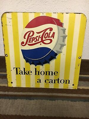 Original Double Sided Pepsi Cola Take Home A Carton Rack Sign