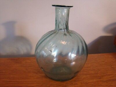 Freeblown Globular Shaped Aquamarine Bottle W/ Ribs Swirled Top - Antique
