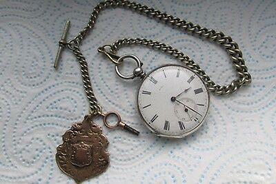 Antique Open Faced Pocket Keywind  Watch Baume Geneve +  Fob Watch Key & chain