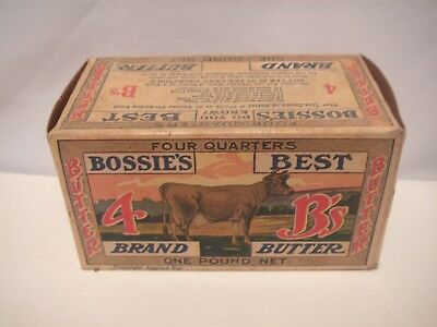 Old, Vintage Patent 1920 Bossies Best Brand Butter Cardboard Box