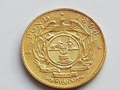 South Africa 1896 (.917) Gold 1 Pond coin .approx 8 grams