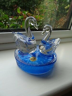 Royal Crystal Rock 24% Lead Crystal Glass Swans