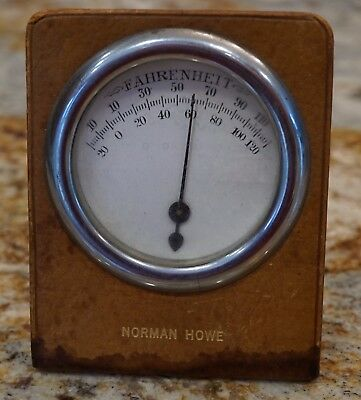 Vintage Steampunk Industrial Metal and Glass Desk Top Advertising Thermometer