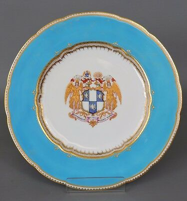 Beautiful Gilt Crested Copeland Spode Armorial Plate - The Lamb of God