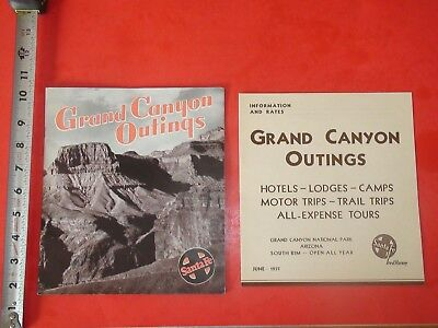 JB282 Vintage LOT of 2 1930's Grand Canyon Outings Travel Guides Santa Fe R.R.