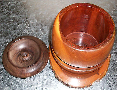 Wooden Jar Pot Turned wood Antique with lid