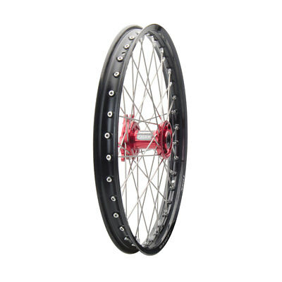 Tusk Complete Wheel Front 21x1.60 Black Rim/Red Hub CRF250R CRF450R CR250R