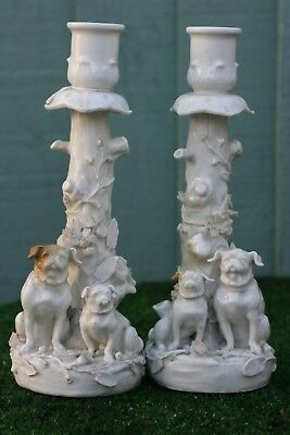 SUPERB PAIR: 19thC MINTON DECORATIVE CANDLESTICKS WITH PUG DOGS TO BASES c1880s