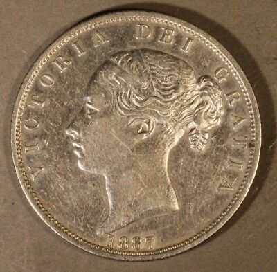 1887 Great Britain Half Crown Silver Young Head     ** FREE U.S. SHIPPING **