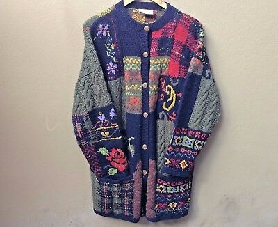 Vintage Laura Ashley Floral Knitted Chunky Wool Cardigan (1992/93 season?)