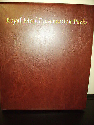 Royal Mail Tan Brown/gold Presentation Pack Album With 17 Leaves Vgc