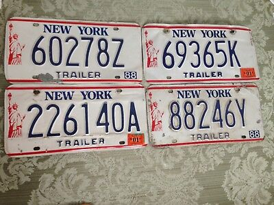 Vtg. N Y Trailer License plate tags lot of 4 Collector Display OVER 3 YEARS OLD