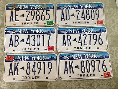 Vtg. N Y Trailer License plate tags lot of 6 Collector Display OVER 3 YEARS OLD