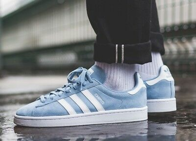 low priced 7f303 a4a49 New ADIDAS Originals Campus Suede Sneaker Mens light blue white all sizes
