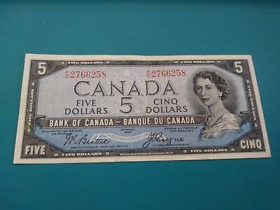 1954 Bank Of Canada $5 Five Dollar Note Ch Xf Devils Face Beattie/coyne