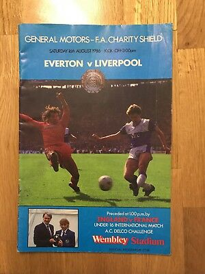 Everton V Liverpool Programme Charity Shield 16th August 1986