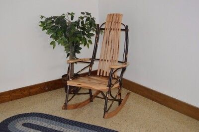 A&L Furniture Co. Amish-Made Hickory 7-Slat Rocking Chair, in 3 Finishes