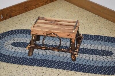 A&L Furniture Co. Amish-Made Hickory Foot Stool, Available in 3 Finishes