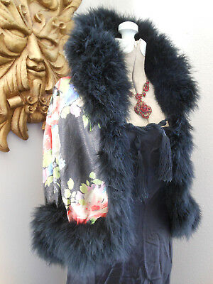 Vtg 20's MARVELOUS FLAPPER FLORAL Hand Painted FRENCH SILK + FEATHER SHAWL CAPE