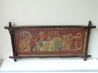 Antique Victorian Embroidery Motto Sampler House  GOD BLESS OUR HOME Paper Punch