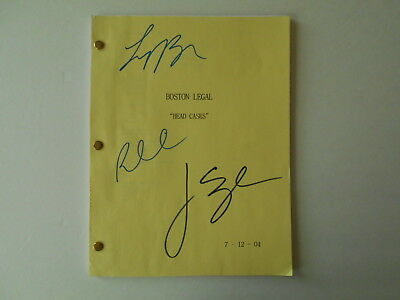 """Boston Legal, Pilot Episode """"Head Cases"""", Hand Signed by Spader, Mitra and Bell"""