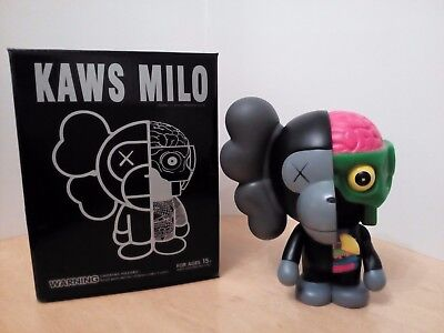 Original Fake Kaws Bape Dissected Baby Milo medicom toy Black with box